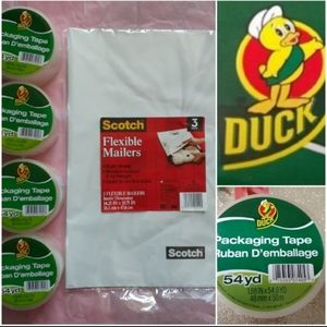 4 DUCK packing tape +BIG poly mailers +tissuepaper
